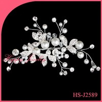100% handmade Wedding Flower Crystal Rhinestone Hair Clip Comb Pin Silver Plated