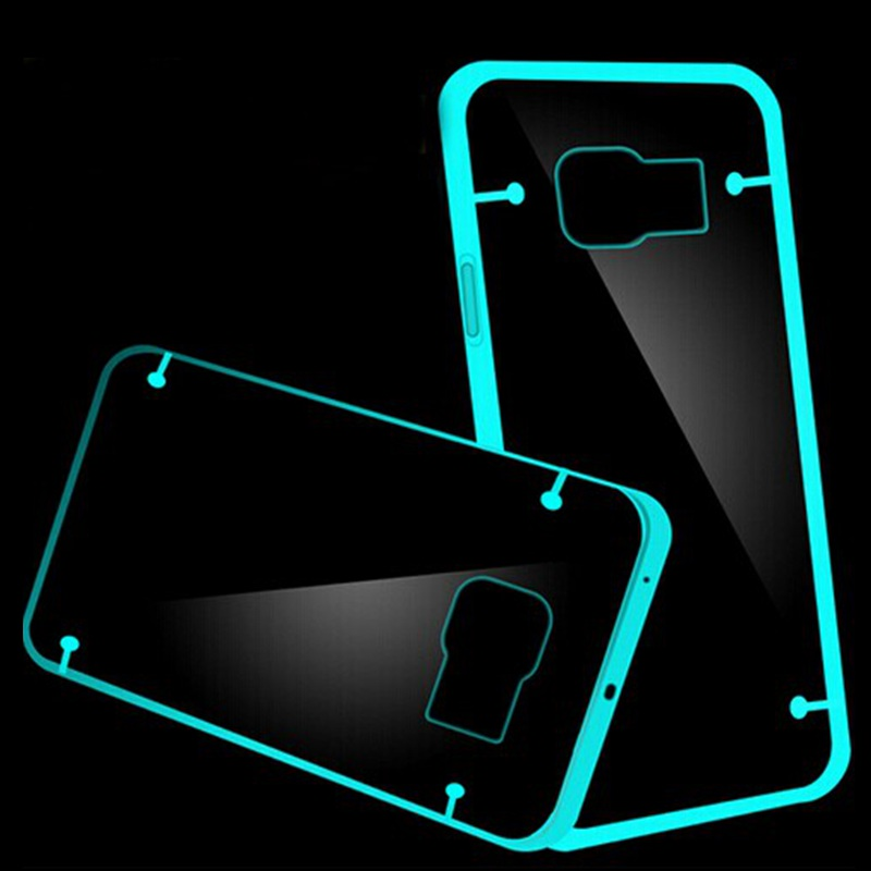 Note5 Hard Back Florescent Light Case For Samsung Galay Note 5 note 4 s6 s7 Luminous Shiny Clear Transparent Cell Cover Shell