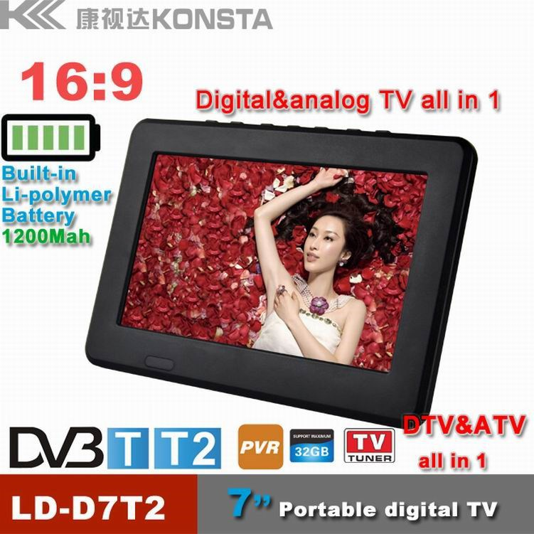 7 inch portable dvb-t2 lcd digital tv with analog TV and digital TV all in one USB TF card reader