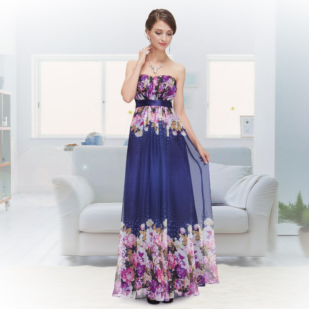 Strapless Printed Flower Long Party Prom Dress HE08380SB
