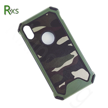 3 Layer Protect Camo Skin Leather Hybrid TPU PC Mobile Phone Case for iPhone X , for iPhone X Shockproof Case