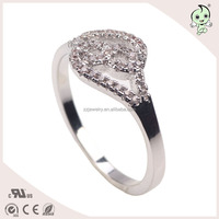 Hot Sale Double Heart Design 925 Sterling Silver Wedding Ring