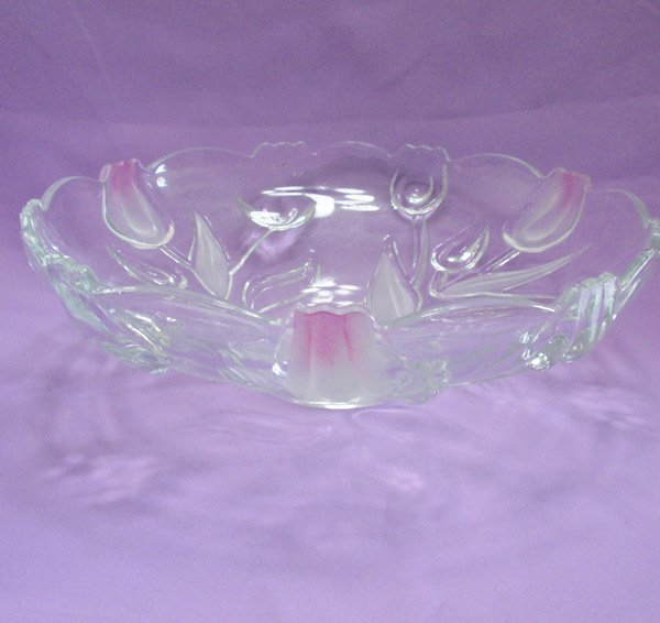 round clear Glass fruit platter