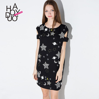 HAODUOYI Women Cute Stars Moons Painting Print Dress off Shoulder Mini Casual Dresses for Wholesale