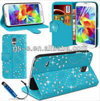 Flowers Diamond leather slot wallet flip case for SAMSUNG Galaxy S5 I9600