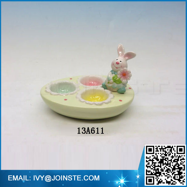 Ceramic Easter rabbit egg tray porcelain tray for chicken egg