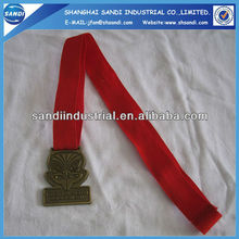 Custom zinc alloy medal lanyards for gold bronze medals with leaves border 3d design competition blank medals