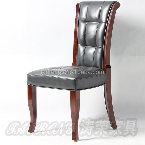 Leather seat High back dining chair /wood hotel chair /restaurant chair