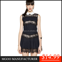 Korean style one piece dress new fashion elegant design black lace lady dress