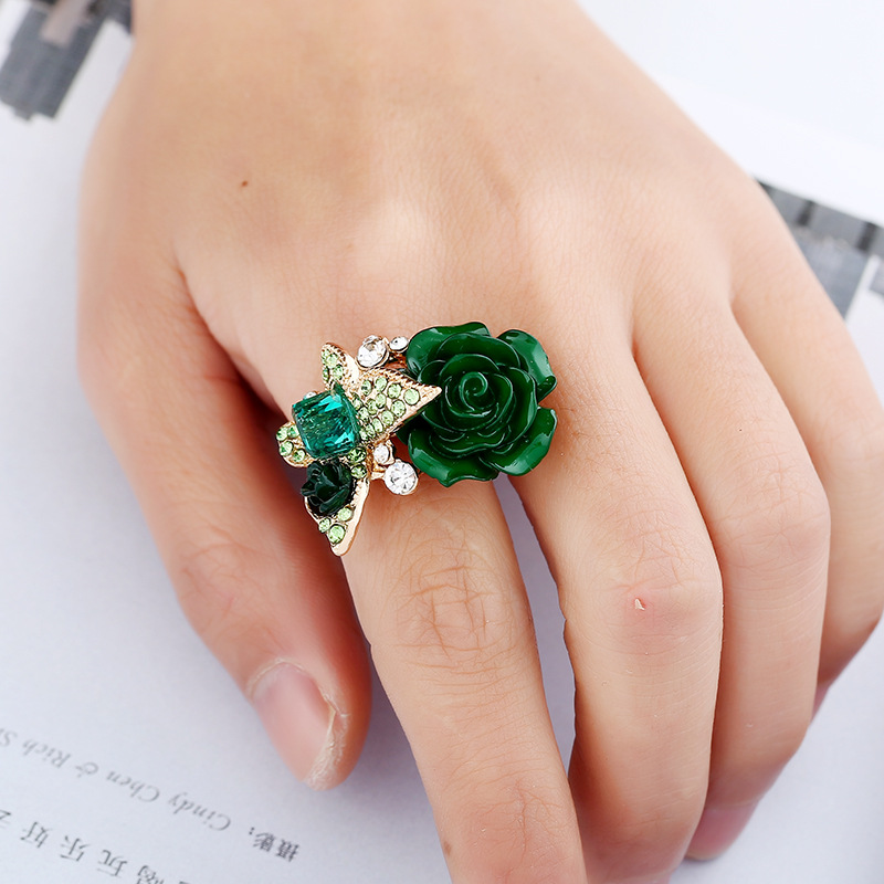 Rose ring national wind butterfly design ringalloy ornaments butterfly ringsbutterfly garden ornament explosions hand ornaments