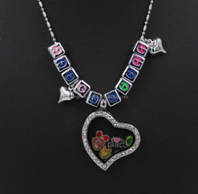 Wholesale charm lockets pendant crystal glass memory heart floating locket