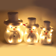 Mid size white snowman wearing scarf ice fabric chinese christmas ornament with LED