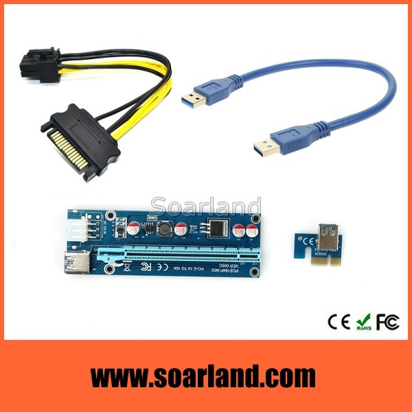 Factory Price 60cm pcie x1 to x16 riser with usb 3.0 cable