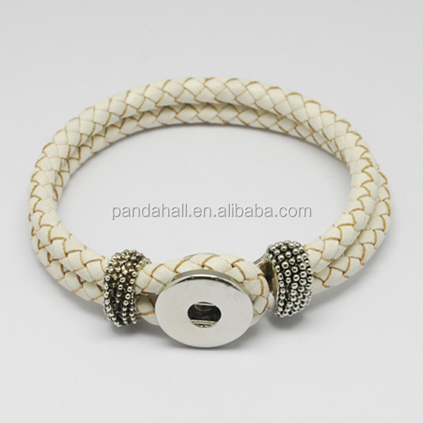 White Braided Leather Interchangeable Bracelet Snap Button Jewelry(AJEW-<strong>R022</strong>-07)