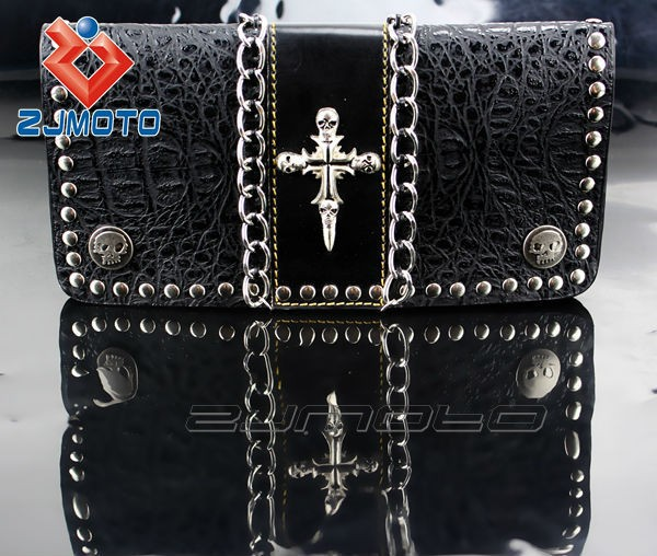 100% Guarantee Brand New Motorcycle bags Decorations Cool Black Fashion Leather Wallet ZJMOTO Motorcycle Accessories