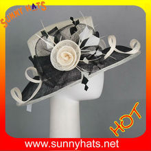100%sinamay ladies formal hats with feather and flowers