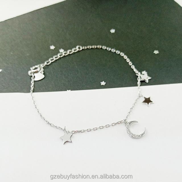 Beaded Bracelets Women 925 Sterling Silver Star and Moon Bracelets Wholesale