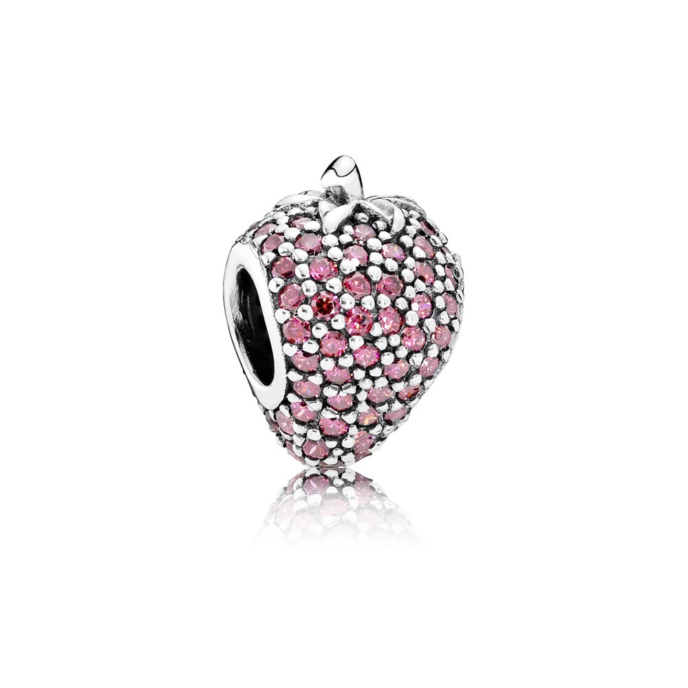 Fashion Cheap European Style Charm Wholesale Real Solid 925 Sterling Silver Jewelry Cute Straberry Charms For Sale