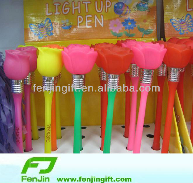 plastic flower rose ball pen rose light up pen