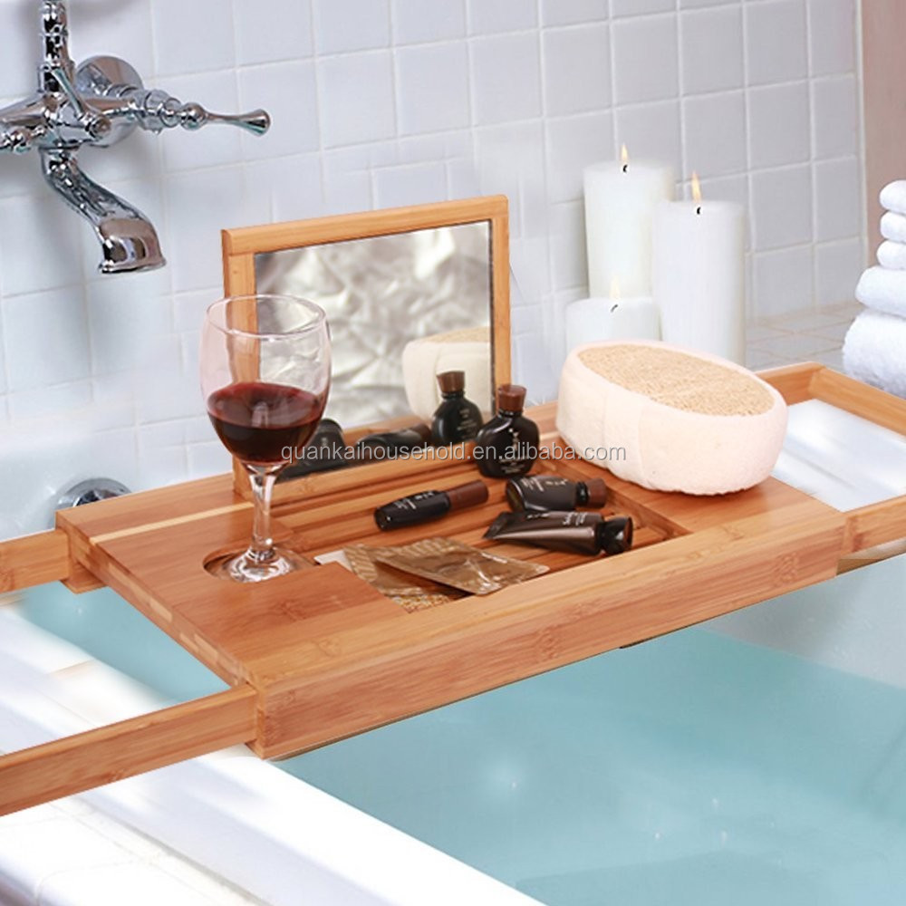 Natural Extendable Bamboo Bathtub Caddy Bath Tub Tray Organizer With ...