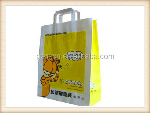 Printed white kaft paper Garfield children's garment packaging bag