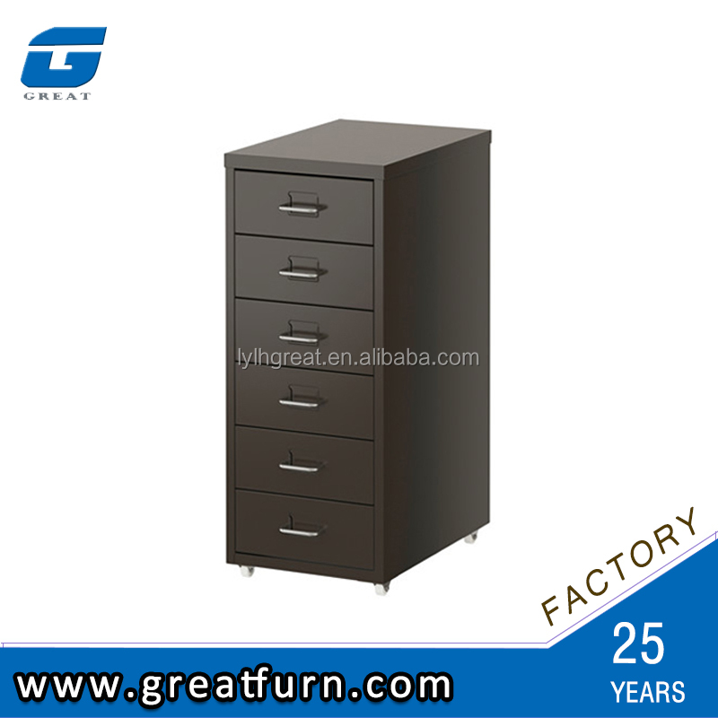 Powder coated office steel storage 6 drawer filing cabinet