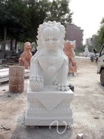 Garden Decoration Stone Carving White Lion Sculpture Marble Statue