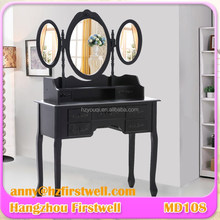 Black Dressing Table of Modern Furniture Dresser With 3 Mirrors