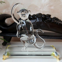 Wholesale glass sculpture crystal monkey model for glass animal gift