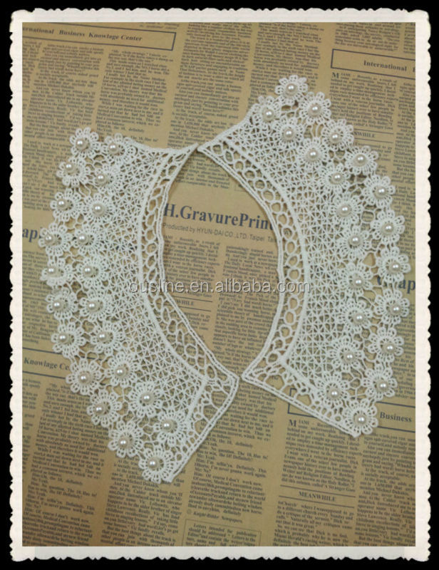 handmade wather- soluble pearl white lace cotton collar necklace for women
