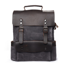 New Arrival Waxed and Waterproof Canvas Backpack with Saddle Leather for Men