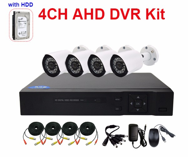Boshen 4CH Special AHD DVR 4 IN 1 Kit Hard Drive Waterproof Outdoor 1080P CCTV System