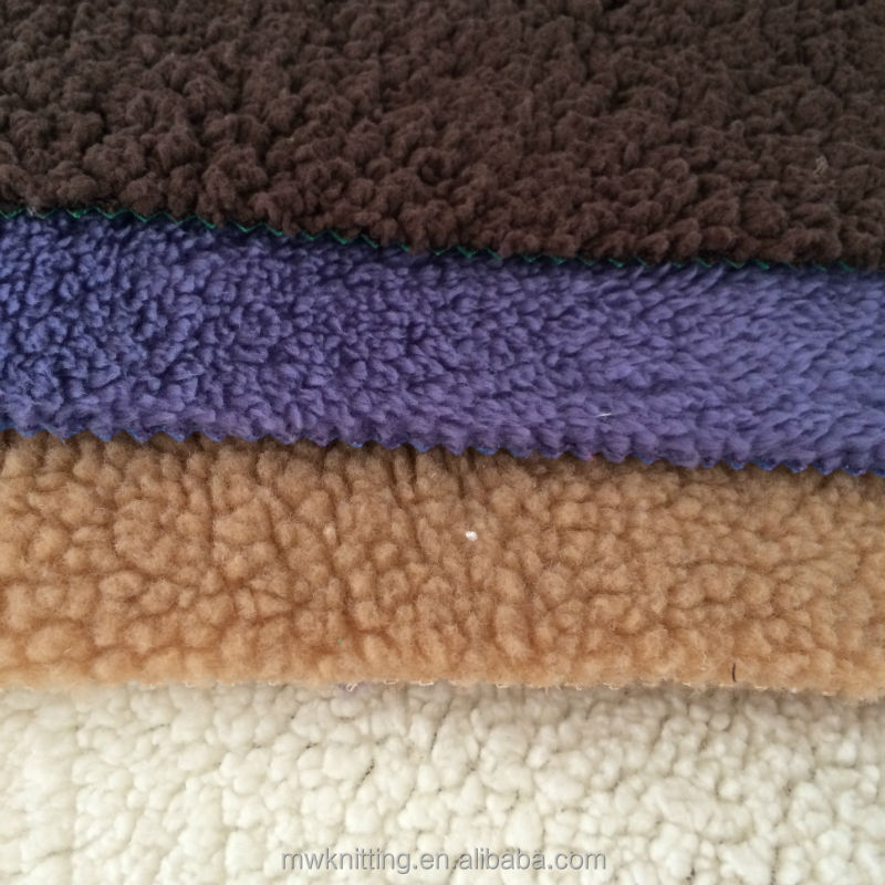 100% polyester sherpa fleece fabric for Baby Blanket, cushions, pillows
