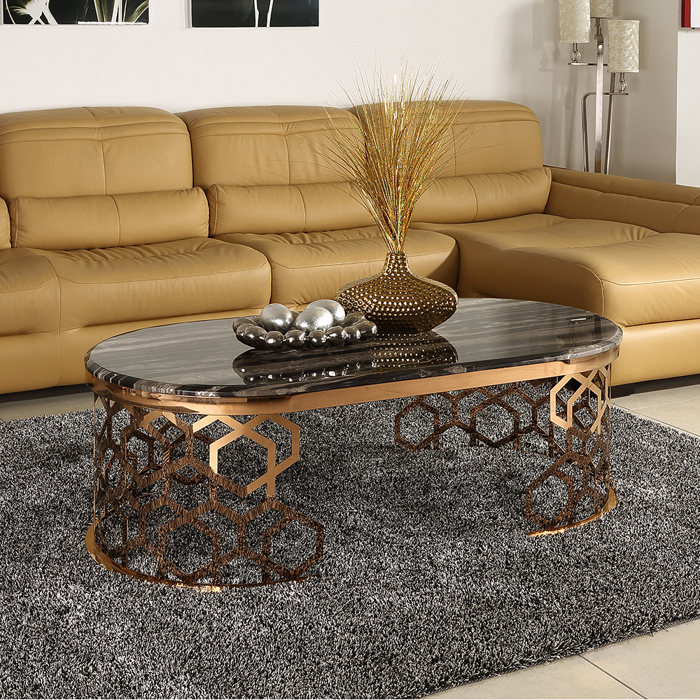 Marble Top Coffee Table Metal Frame console Table
