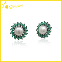 women semi joias navette green crystal freshwater pearl earrings studs