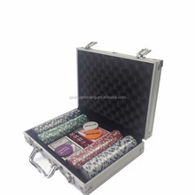 13.5g 500 pcs clay cosmetics Casino poker chip set with Aluminun Metal Case roulette chips set