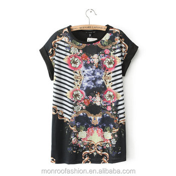 monroo Fashion Women Patchwork Image Printed T-Shirt Women Short Sleeve T-shirt Pullover Clothing