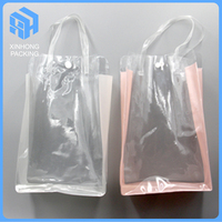 Cheap pvc shopping bag with snap button/heat seal pvc handle bag/clear pvc shopping bags