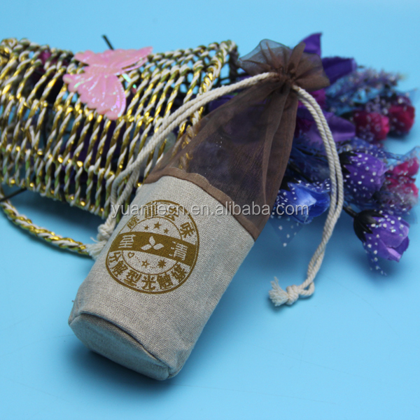 wholesale cotton jute/gunny/burlap round bottom drawstring wine bottle bag from Shenzhen Packing Products Supplier