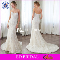 WD196 Tulle Mermaid Sweetheart Lace Appliqued Lace-up Open Back Suzhou Wedding Dress