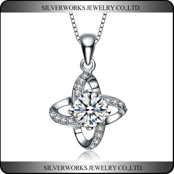 Wholesale Fashion Jewelry Flower Pendant Necklace With CZ Silver Jewelry