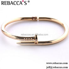 Gold Colour Women Cuff Nail Bangles Elegant Metal Bracelet For Women Accessories