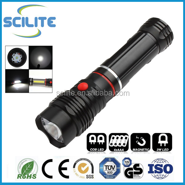 COB LED 5W Inspection Lamp Worklight Work Light Car Torch Flashlight Flexible Magnetic 4xAAA