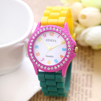 Wholesales fashion women geneva watch youth watch with silicone band for hot sale