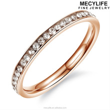 MECYLIFE High Quality Zircon Paved Stainless Steel 18K Rose Gold Engagement Rings