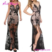 Western See Through Black Sequins Lace Plus Size Long Evening Dress