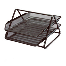 office supplies desk metal mesh 2 tier file letter tray
