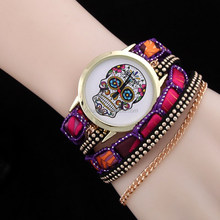 Yiwu cheap colorful braided bracelet watch wrist watch