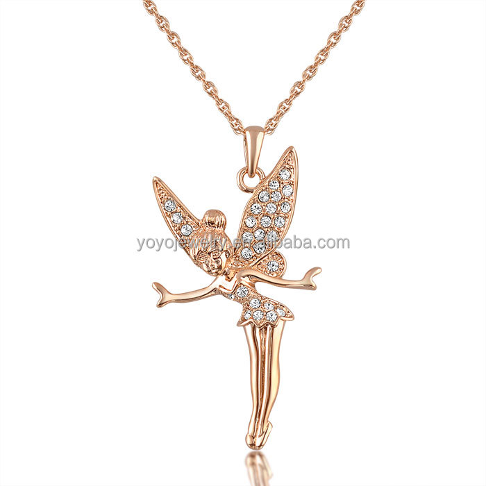 New fashion angel design rose gold plated pendant necklace