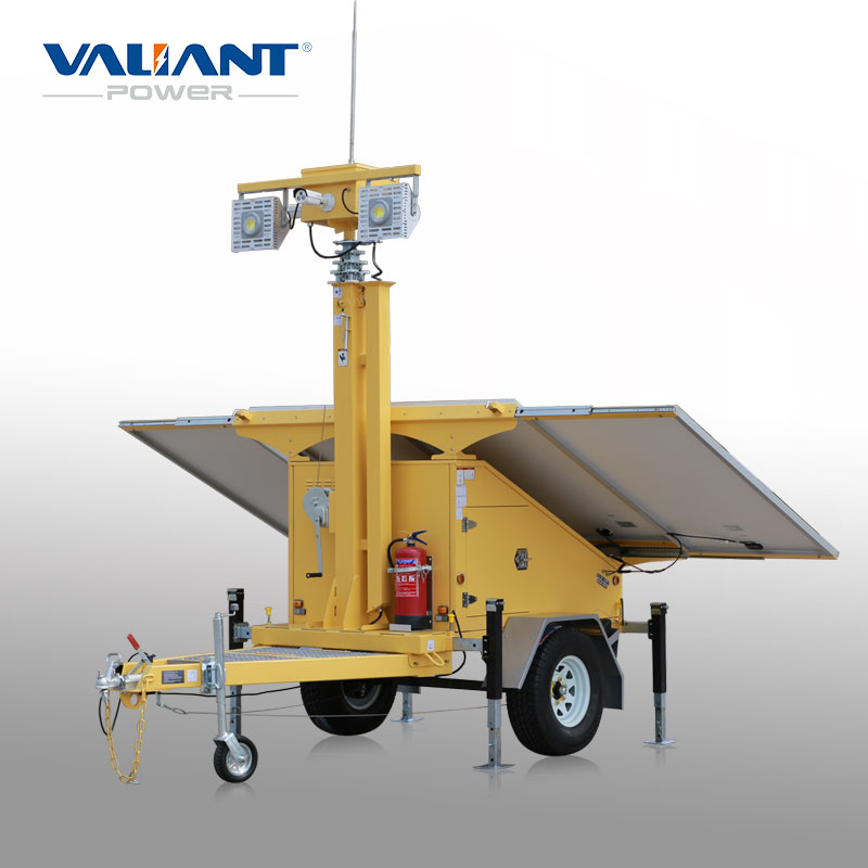 New design solar power surveillance trailer for wireless fire alarm system